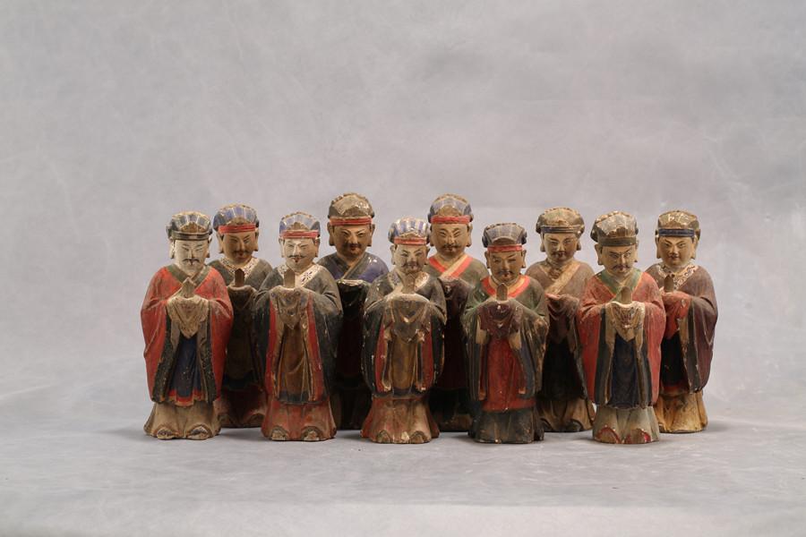 明代木雕彩绘五百灵官组像